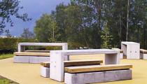 Betongbord og fundamenter til betongbenker