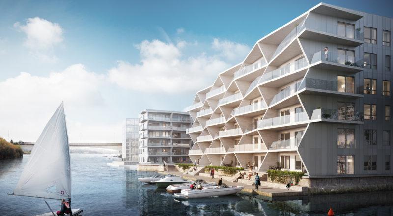 I vannkanten: Straume Sjøfront er et nytt og spennende område på Bildøy. ILLUSTRASJON: LINK arkitektur AS og Brick Visual